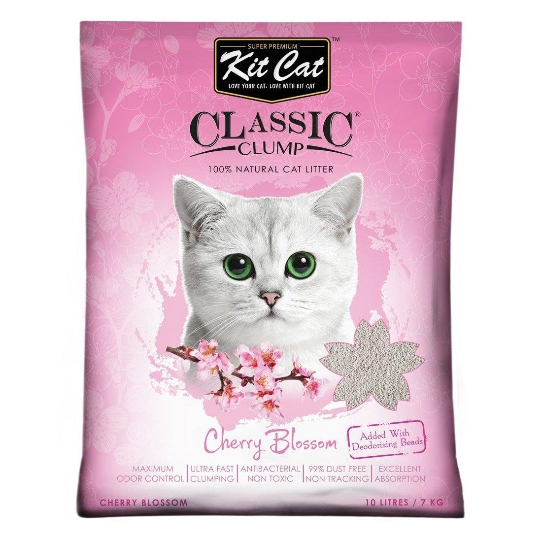 Kit Cat Ultra Fast Classic Clumping Bentonite Cat Litter 10 litres/7kg - Cherry Blossom