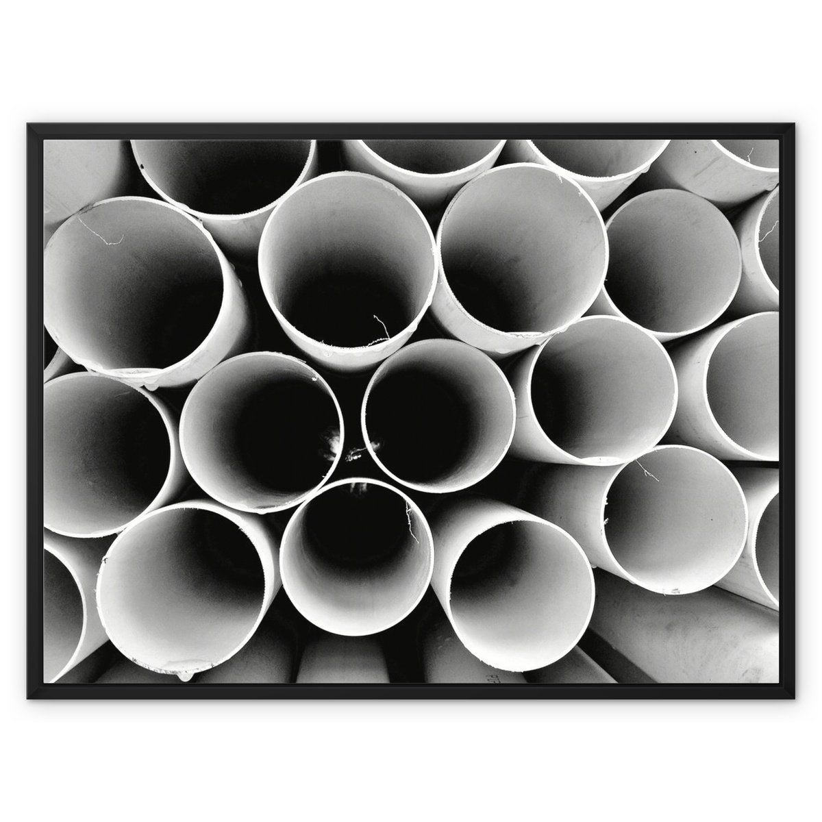Monochrome Round Pipes Framed Canvas