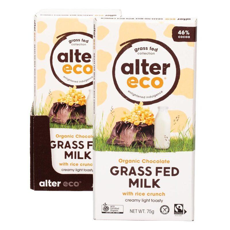 Organic Chocolate - Grass Fed Milk & Rice Crunch (12x75g)