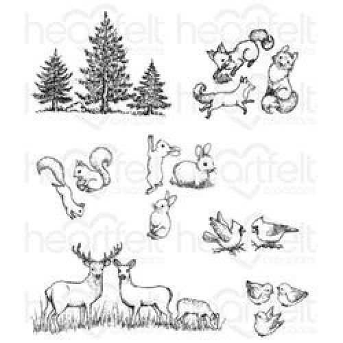 (12.8 x 20.59 x 1.24 cm) - Heartfelt Creations Woodsy Critters Cling Rubber Stamp