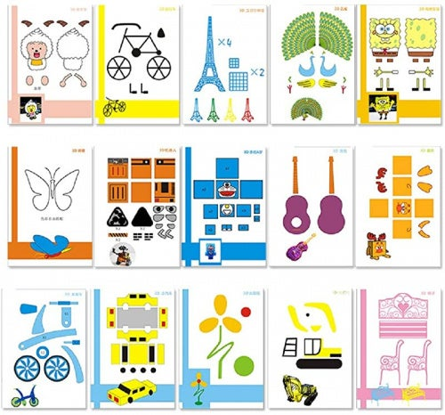 20 Sheets 3D Printer Drawing Moulds Paper Stencils for 3D Printing Pen, 40 Patterns and a Clear Plate Set