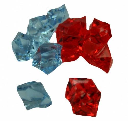 (25-LT BLUE 25-RED) - 50 Acrylic Ice Rocks Table Scatter Vase Decoration (25-LT BLUE 25-RED)