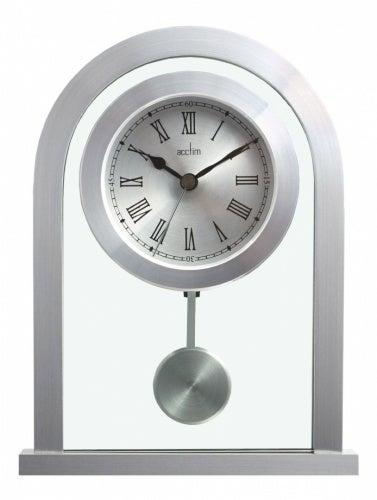 Acctim36757 Bathgate Glass Pendulum Mantel Clock, Silver