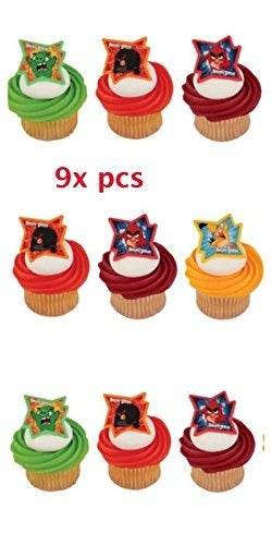 Angry Birds Cake Toppers-CakePicke Angry Birds Why So Angry. Cupcake Rings. (9x pcs)