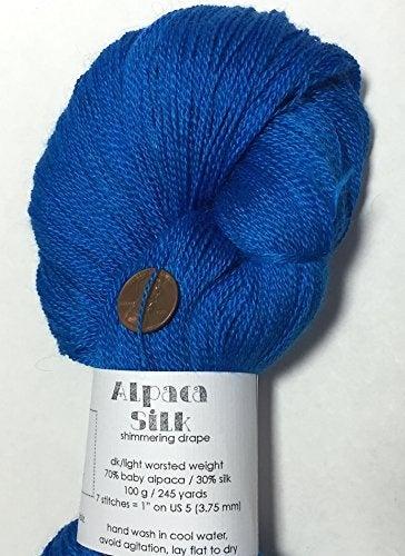 Artisan Yarns Hand Dyed Alpaca Silk Yarn, Solid Brilliant Blue, Lace Weight, 100 Grammes, 875 Yards, 70/30 Baby Alpaca / Mulberry Silk