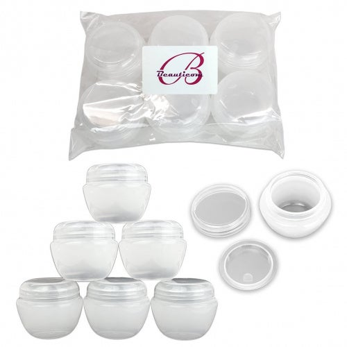 Beauticom® 24 Pieces 50G/50ML High Quality White Frosted Container Jars with Inner Liner for Lotion, Toners, Lip Balms, Makeup Samples - BPA Free