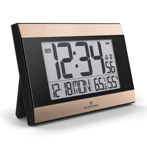 (Black/Gold) - Marathon CL030052BK-GD Atomic Digital Wall Clock With Auto-Night Light, Temperature & Humidity - Batteries Included. (Black/Gold)