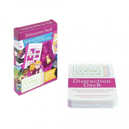 Coping Skills for Kids, Coping Cue Cards Distraction Deck Card Game, Natural Stress Reliever for Children