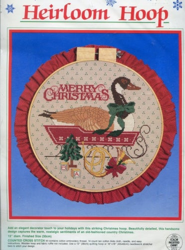 Dimensions Counted Cross Stitch Kit ~ Heirloom Hoop Merry Christmas Goose