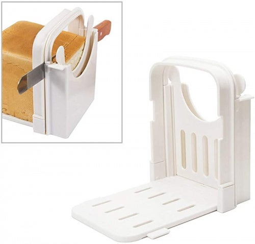 DSDecor Bread Slicer Foldable Bread Cutting Guide with 5 Slice Thicknesses Mould, Bread Bagel Loaf Sandwich Cutter Slicer