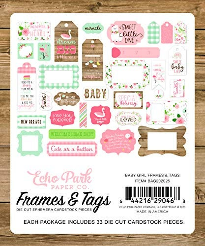 Echo Park Paper Company Baby Girl Frames & Tags ephemera, pink, yellow, green, blue