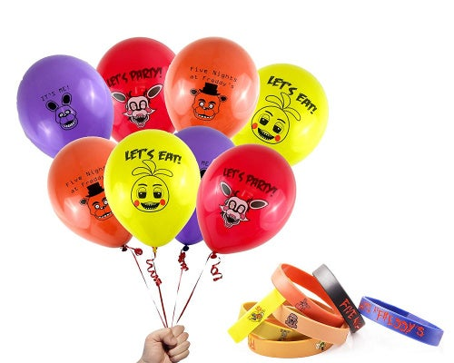 FNAF Party Bundle: Five Nights at Freddy's 30cm Printed Latex Balloons & Bracelets USA