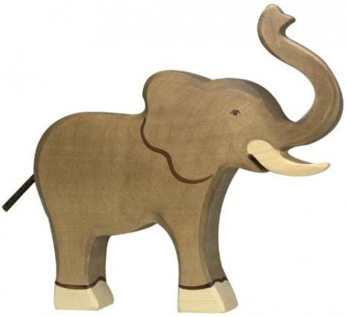 Holtztiger HT80148 Elephant, Trunk Raised, Assorted Colours