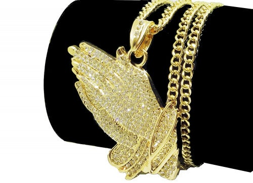 """Iced Out """"Big Clap"""" 14K Hip Hop Gold Plate Jewellery, Bling Bling Necklace 80cm Rope Chain Included"""