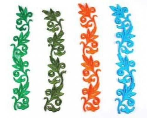 Leaf Scroll Applique (bright Colours) By Shine Trim - Olive