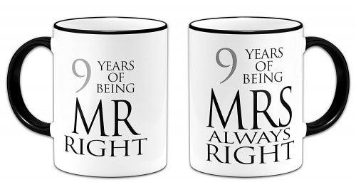Pair of Mr & Mrs Always Right Anniversary (9th Pottery) Novelty Gift Mugs - Black Handle/Rim