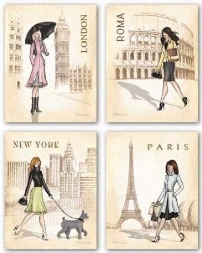 Paris, London, Roma and New York Set by Andrea Laliberte 20cm x 25cm Art Print Poster