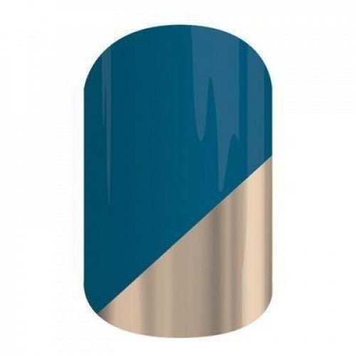 Prince Charming - Jamberry Nail Wraps - HALF Sheet - Metallic Gold on Blue
