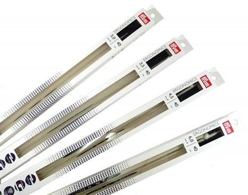 Prym Single-Point Ergonomic Knitting Pins/Needles, Metal, Multi-Colour, 4.5 mm, 40 cm Length, 1-Pair