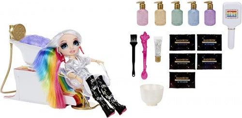 Rainbow High Salon Playset with Rainbow of DIY Washable Hair Colour Foam for Kids and Dolls