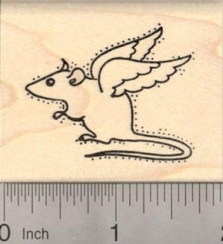 Rat Angel Rubber Stamp, Pet Loss Sympathy, Mouse
