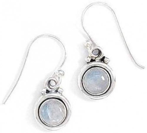 Round Simulated Moonstone Polished Edge Earrings Silvertone