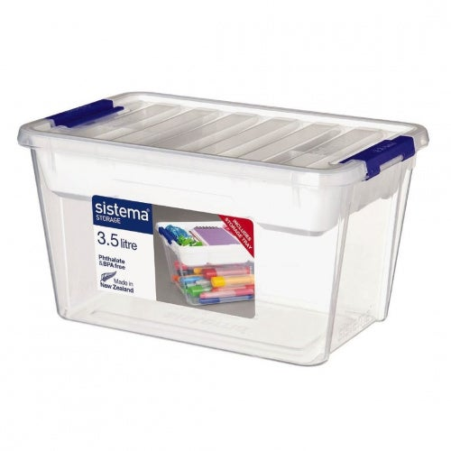 Sistema Home And Office Plastic Storage Container With Removable Tray, 3.5 L