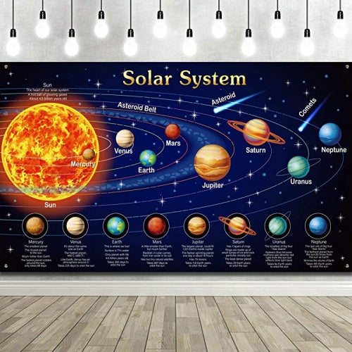 Solar System Decorations Large Fabric Outer Space Poster Banner Space Theme Backdrop Background for Kids Boys Space Birthday Decorations Planets Party Educational Supplies 1.8m x 0.9m