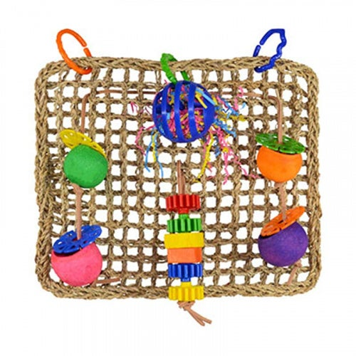 """Super Bird SB746 Seagrass Foraging Wall Bird Toy with Colourful Fun Gears, Large Size, 4"""" x 14"""" x 14"""""""