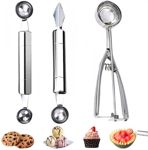 VOKUA Cookie Scoop & Melon Baller Scoop, 3 Pieces Stainless Stell Set Dough Scoop Cupcake Scoop, for Cutting and Scooping Fruit Melons