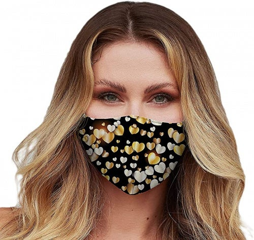 Washable Face Mask with Adjustable Ear Loops & Nose Wire - 3 Layers, 100% Cotton Inner Layer - Cloth Reusable Face Protection with Filter Pocket - Made in USA (Gold Hearts)