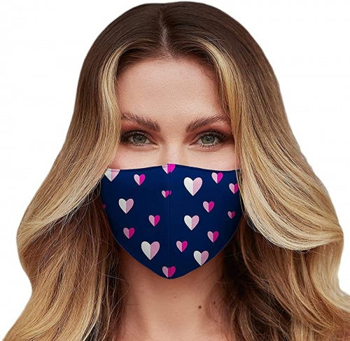 Washable Face Mask with Adjustable Ear Loops & Nose Wire - 3 Layers, 100% Cotton Inner Layer - Cloth Reusable Face Protection with Filter Pocket - Made in USA (Pink Hearts)
