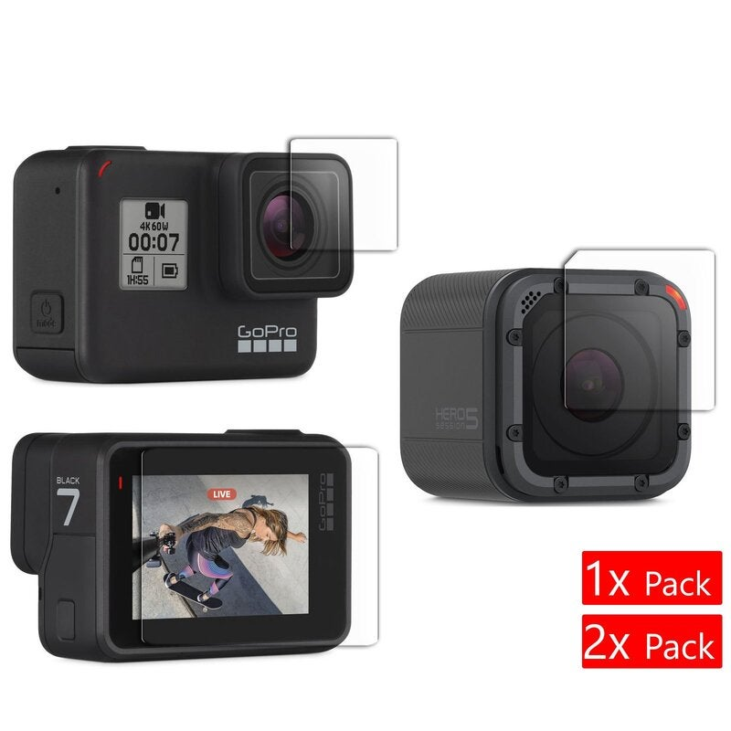 GoPro Hero 7 6 5 Session Black Camera Tempered Glass Screen Protector 2x 1x