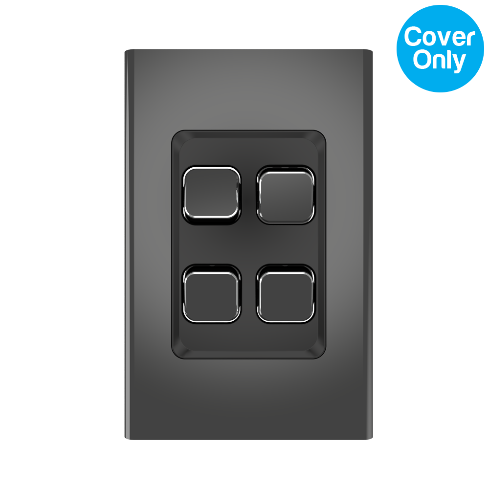 Clipsal Iconic Styl 4 Gang Switch Skin Silver Shadow
