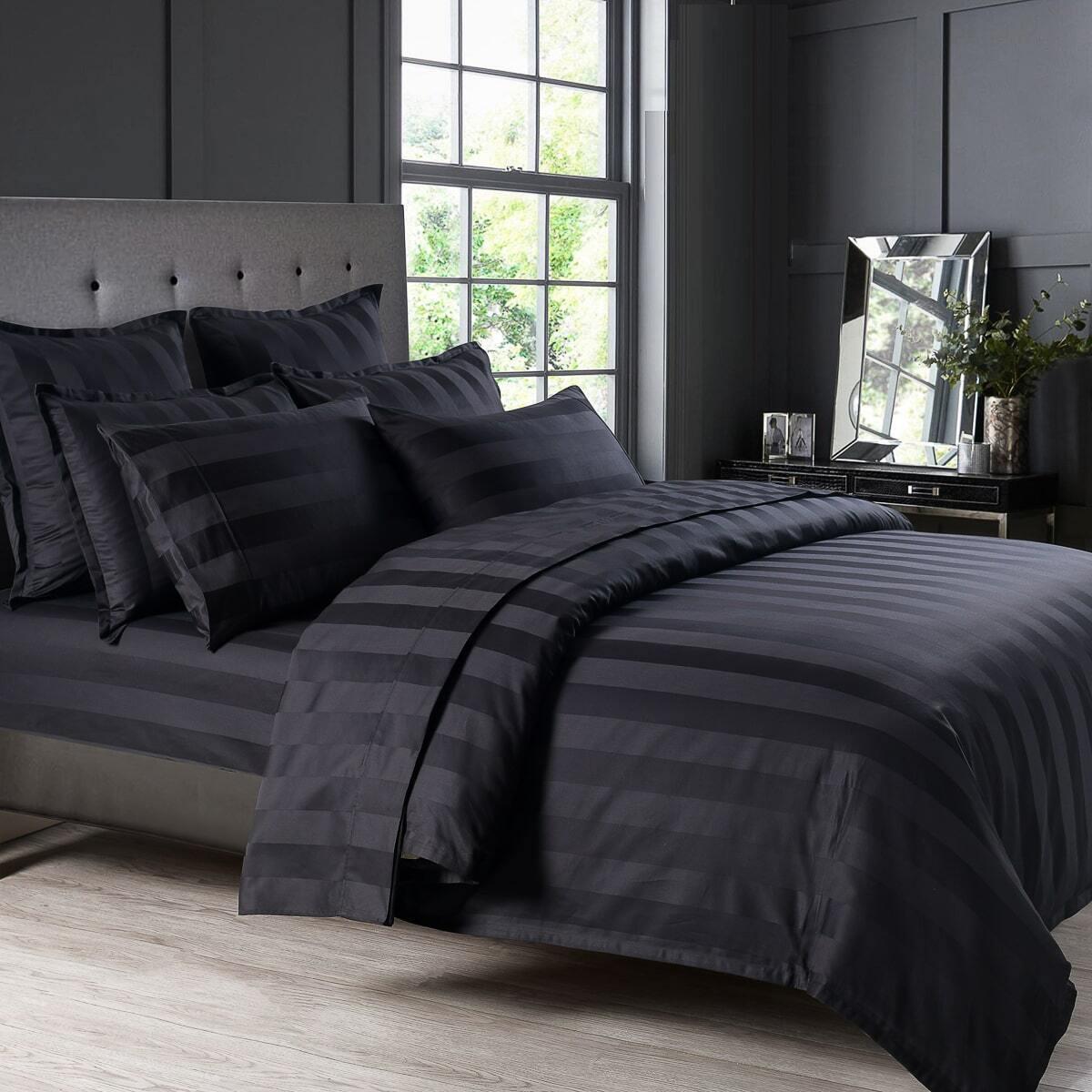 Bespoke 1200TC Sheet Set Black Super Queen Bed