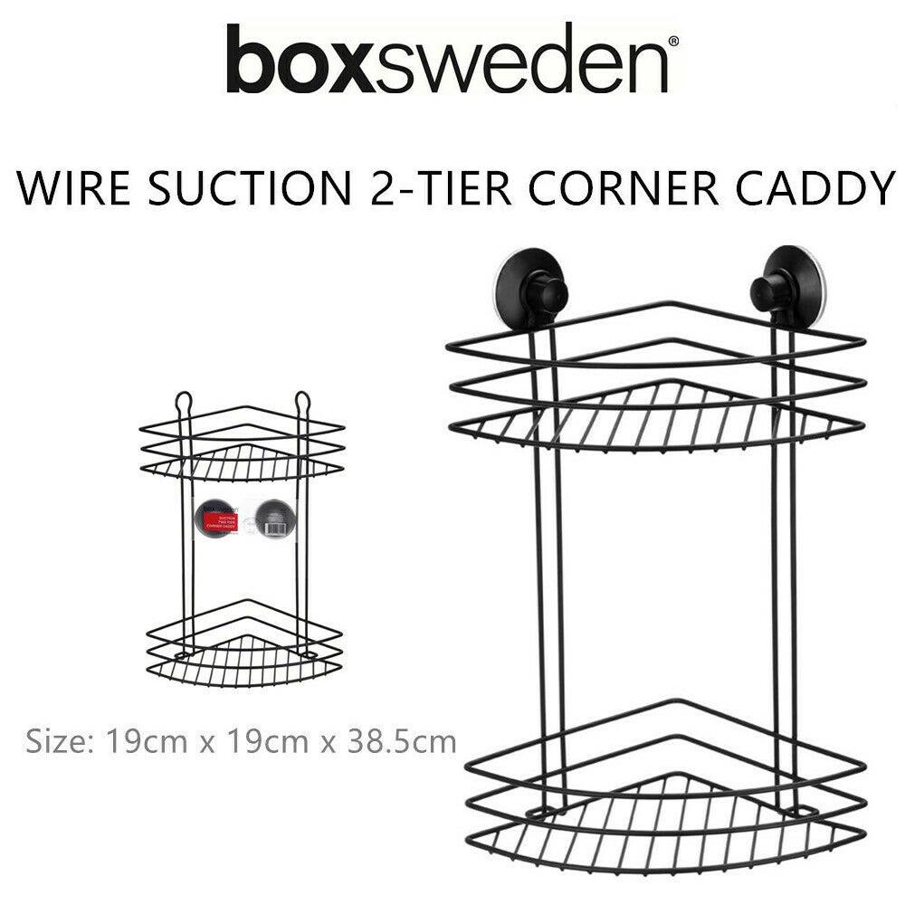 BoxSweden 2 Tier Bathroom Wall Suction Rack Shower Caddy Shelf Organiser Holder