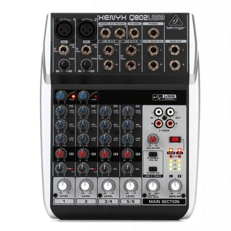 Behringer Xenyx Q802USB Mixer with USB 8-input, 2-bus Analog Mixer
