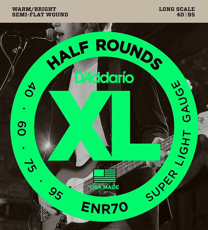 D'Addario ENR70 Half Round Semi Flat Bass Guitar Strings, Super Light 40 - 95