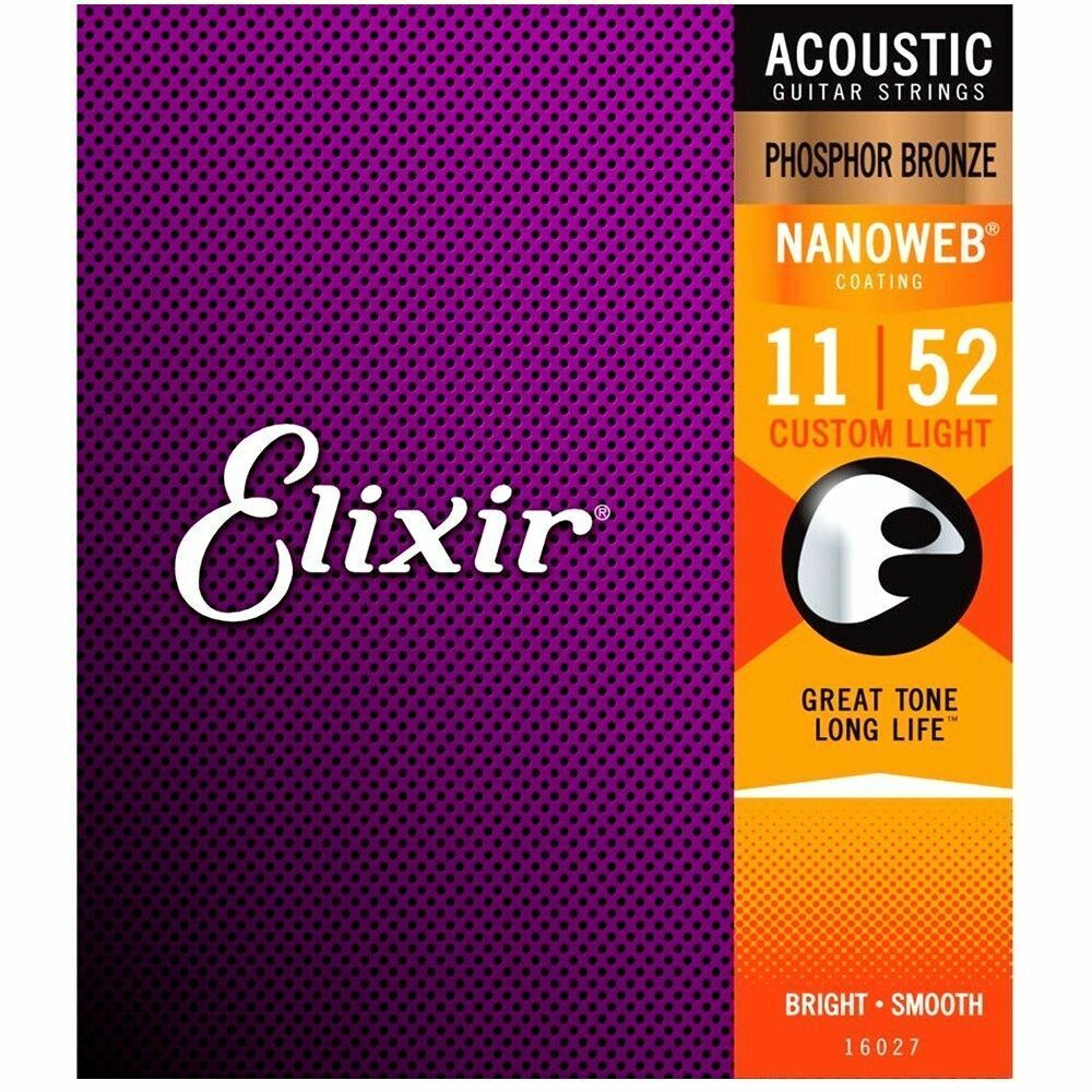 Elixir Nanoweb 11 - 52 Phosphor Bronze Acoustic Guitar Strings - 16027