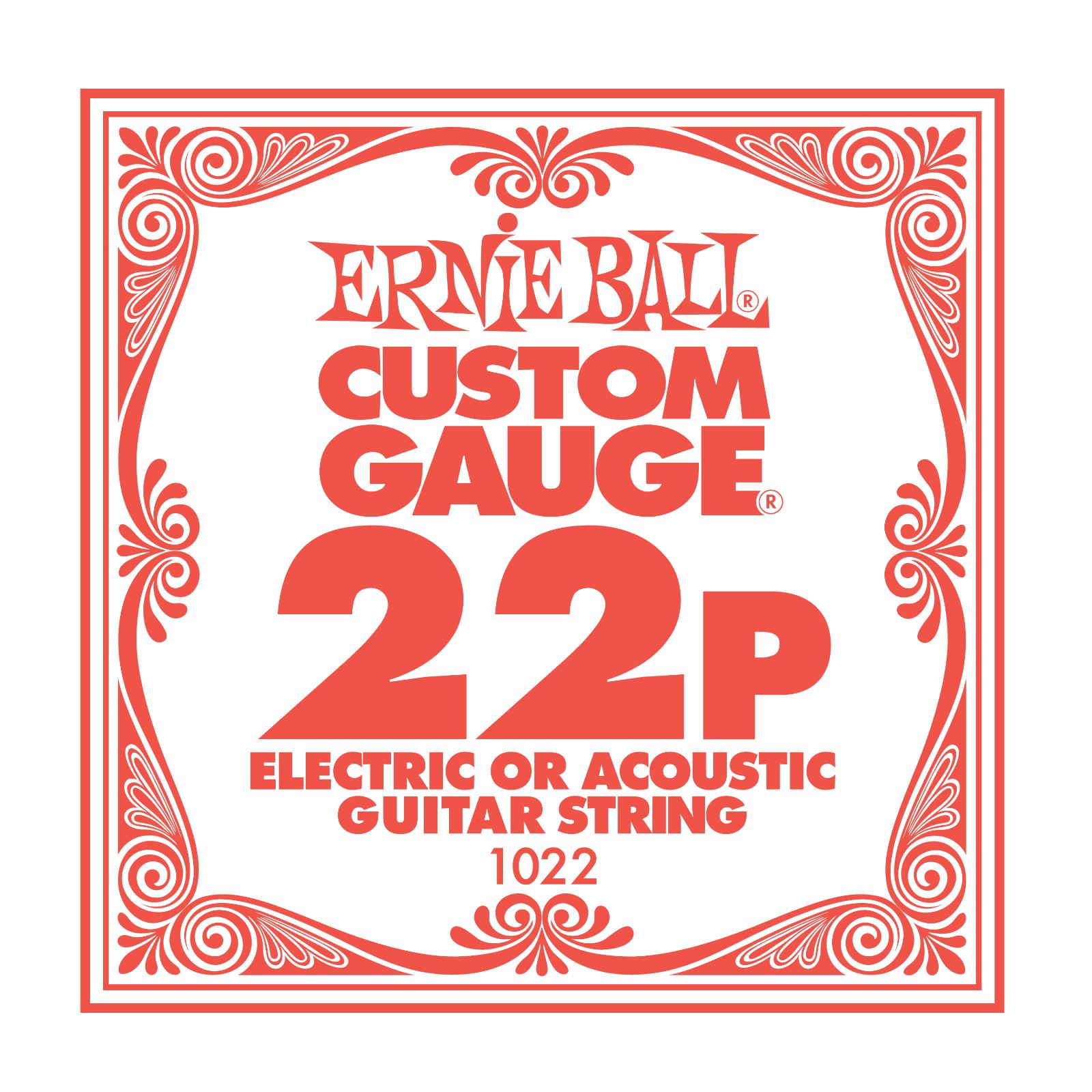 Ernie Ball Plain Steel Single Guitar String .022 Gauge Pack of 6 strings PO1022