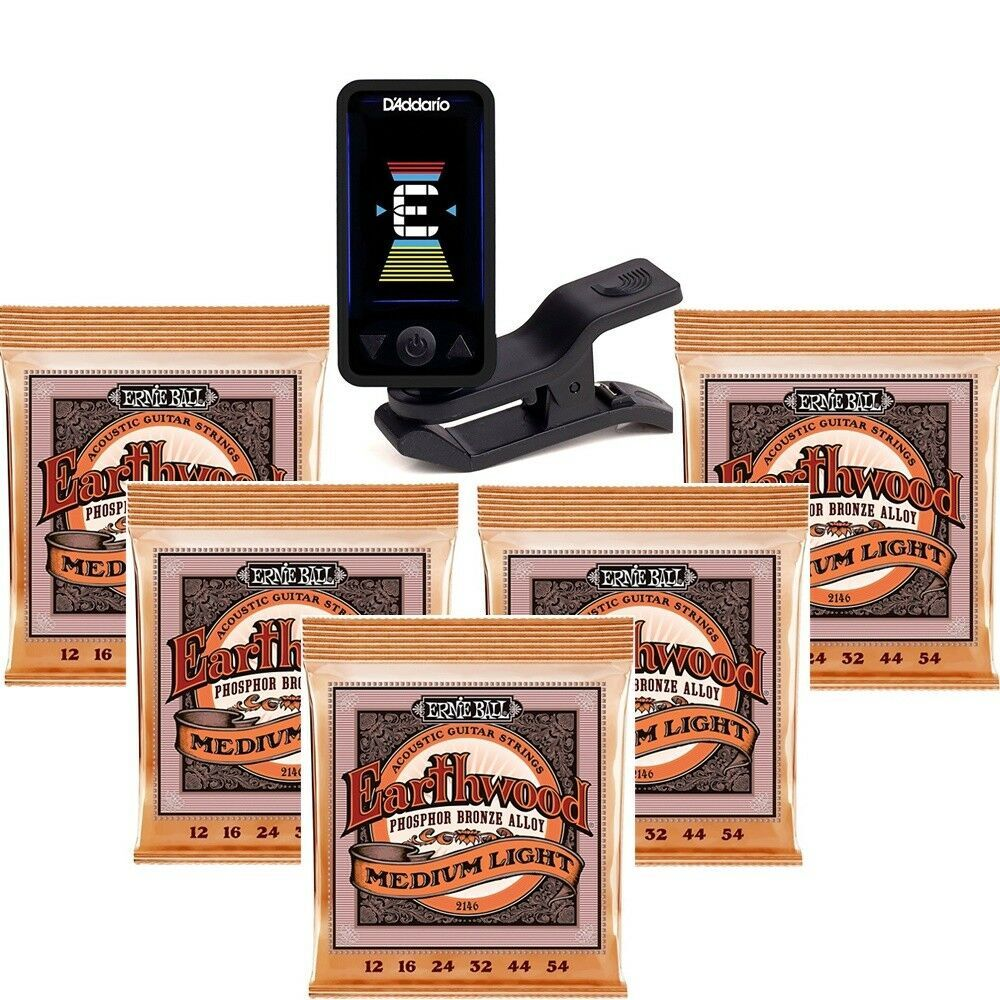 Planet Waves Eclipse Clip-On Tuner 5 Sets of Ernie Ball Acoustic Strings 2146