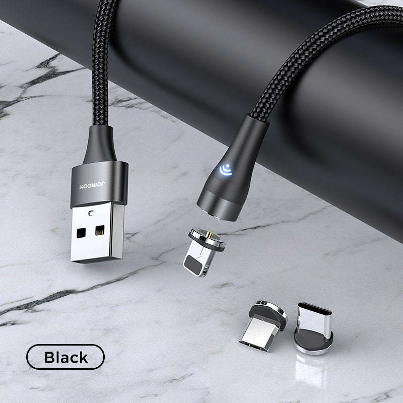 360° Magnetic Phone Charger Joyroom with soft lighting iPad iPhone 12 11 XS 8 7 Black