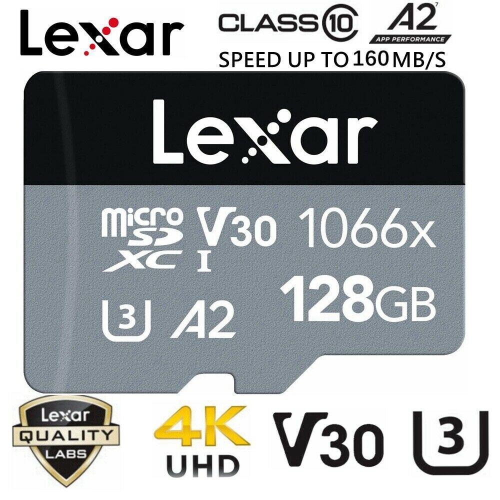 Micro SD Card Lexar 128GB Professional 1066x Class 10 A2 U3 Phone Tablet Memory