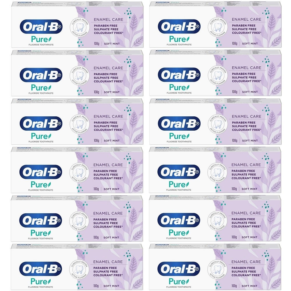 12 x Oral-B Pure Enamel Care Soft Mint Toothpaste 100g