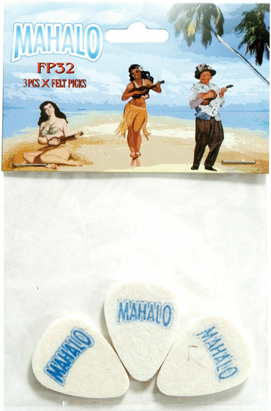 3 x Mahalo Ukulele Felt Picks 3.2mm Flat Soft Tone Hawaiian Pack Uke