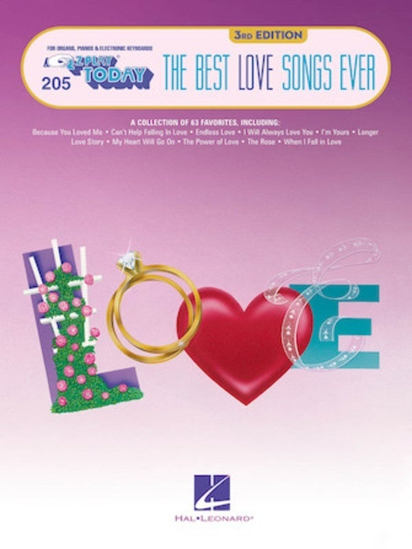 Best Love Songs Ever EZ Play 205 3rd Edition