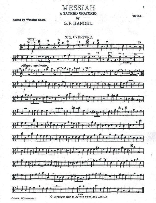 Handel Messiah (Shaw) Viola (Part) Book