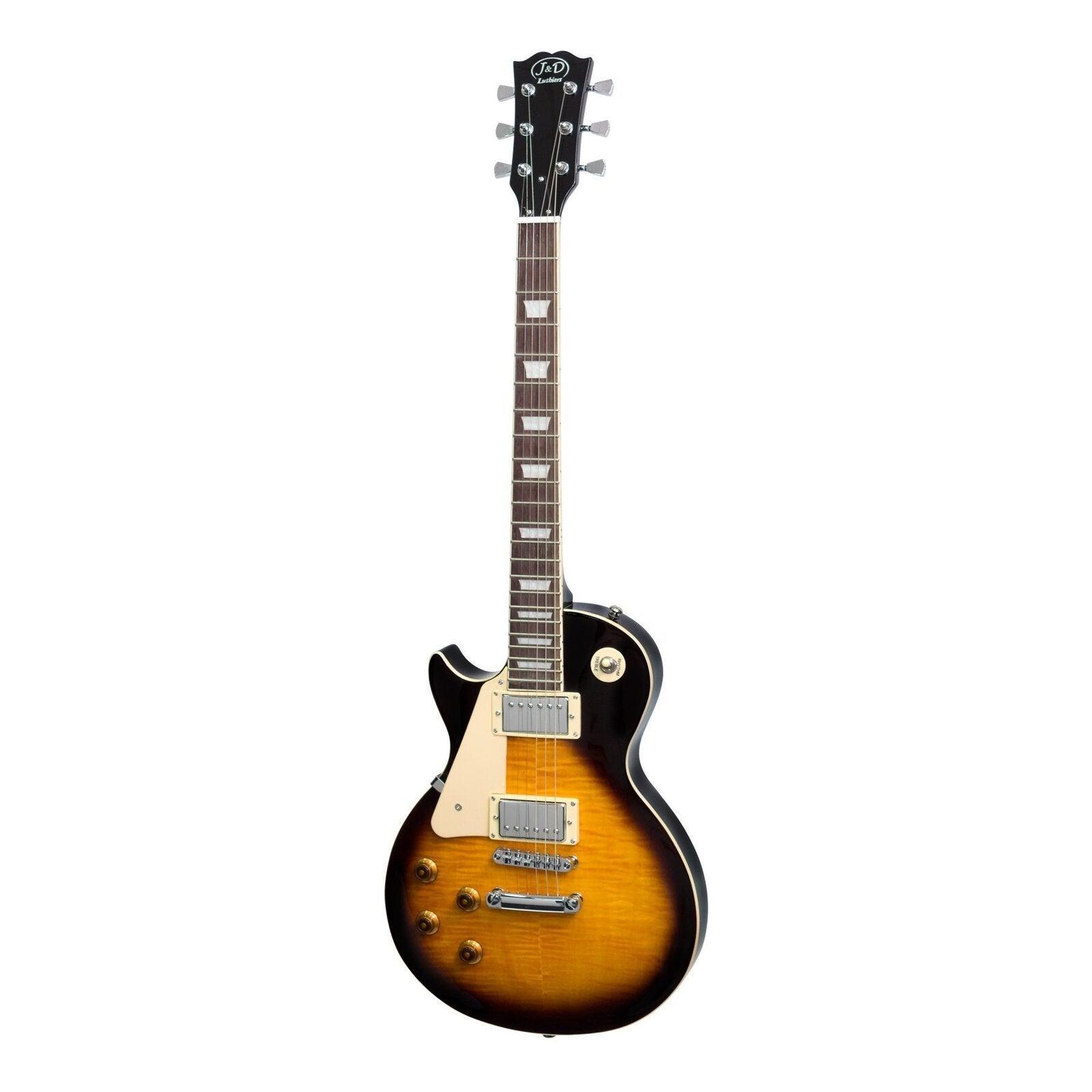 J&D Luthiers Left Handed LP Style Electric Guitar (Vintage Sunburst)