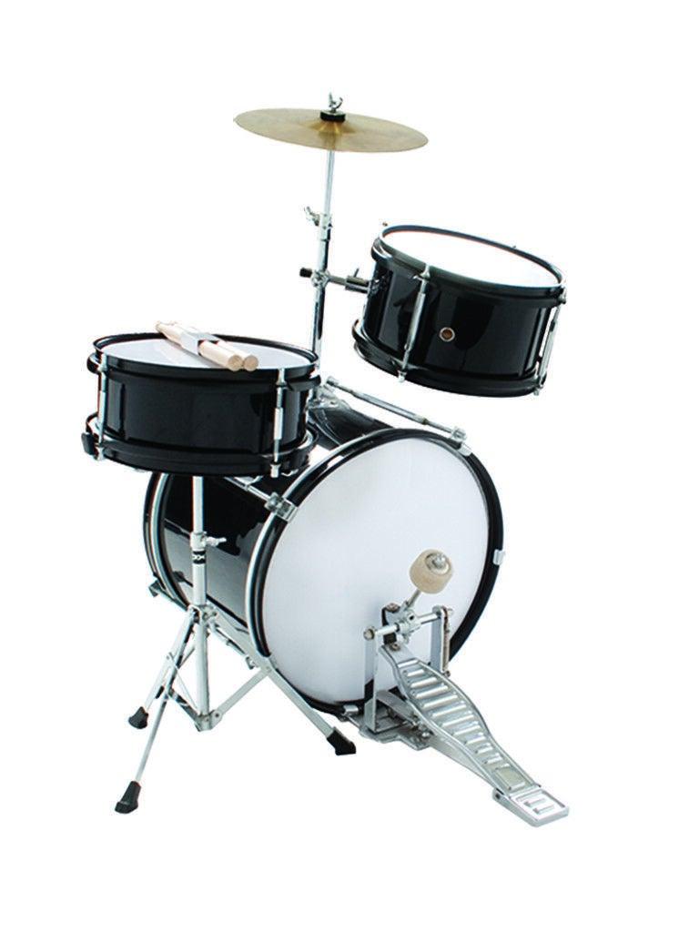 Kids Junior Drum Kit 3 Piece Black Sticks and Stool