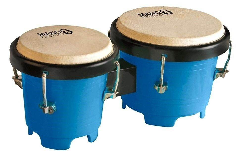 Mano Percussion Mini Bongo Drums, 4.5 & 5 Inch Tunable Heads Blue